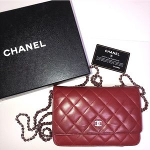 100% Authentic Red CHANEL Wallet on Chain WOC